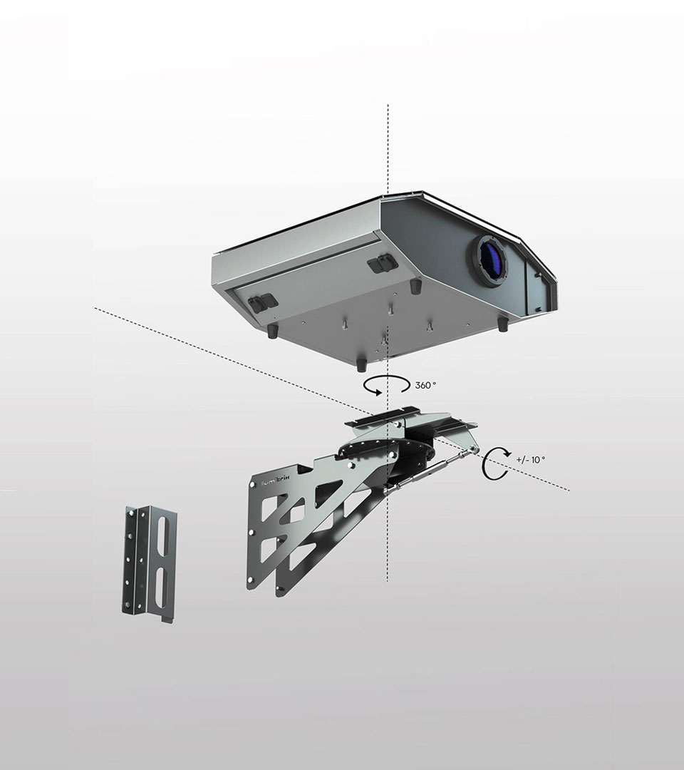 LM3X LAZR™ LAZR 4G™ outdoor projector with wall post fixture assembl